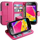 BLU Dash JR 4.0 K Case, LK [Kickstand Feature] [Perfect Fit] BLU Dash JR 4.0 K Wallet Case, Luxury Wallet PU Leather Case Flip Cover Built-in Card Slots & Stand For BLU Dash JR 4.0 K , [Wallet Feature] HOT PINK