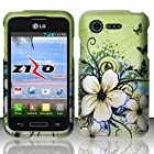 Green Hibiscus Butterfly Flower Design Shield Snap-On Cover Case + Atom LED Keychain Light for LG Optimus Fuel / L34C (Straight Talk