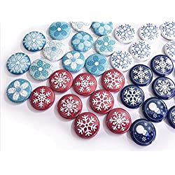Winter Wonderland Snowflakes, 1 Inch Flat Back Buttons (6 pcs, Holiday Red)