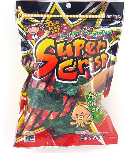 Super Crisp Grilled Seaweed (Hot Chili Squid Flavor) .84oz (Pack of 6) (Seaweed Chili compare prices)