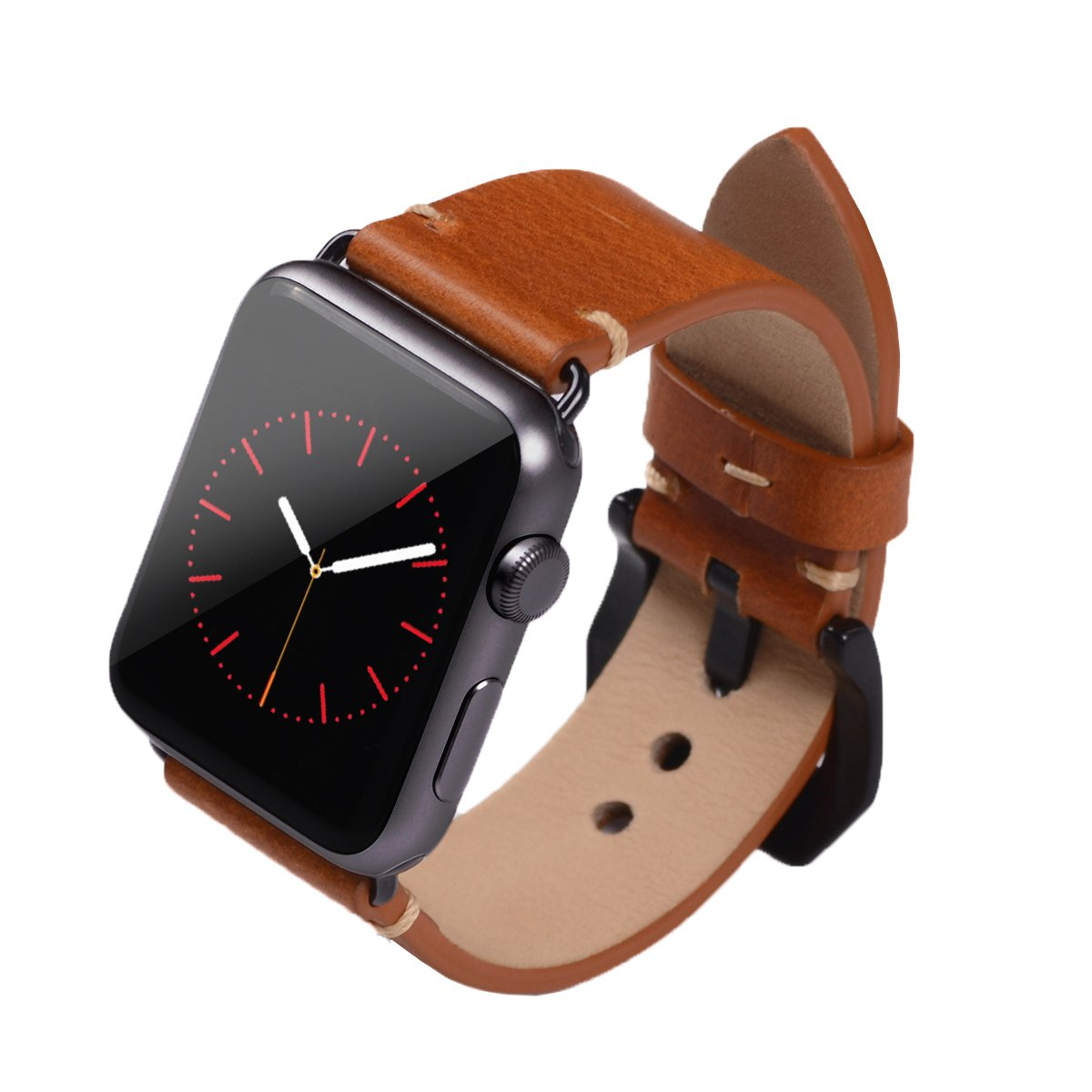 Apple Watch Band ,Vintage Vegetable Tanned Leather Watch Band For I Watch 42mm With Black Adaptor Light Brown 0