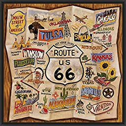 29in x 29in Route 66 by Karen Dupre - Black Floater Framed Canvas w/ BRUSHSTROKES