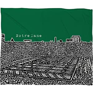 DENY Designs Bird Ave Notre Dame Green Fleece Throw Blanket, 60-Inch by 50-Inch