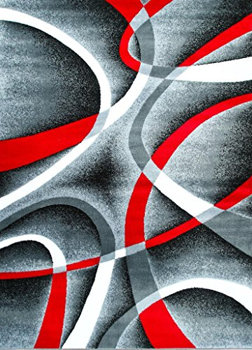 Area Rugs Gray Black Red White Swirls Modern Abstract Area