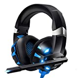 RUNMUS Gaming Headset PS4 Headset, Cutting-Edge 7.1 Surround Sound Stereo Pro Xbox One Headset, Dual Noise Cancelling Mic, Soft Memory Foam Earmuff, Support PS4, Xbox One, PC, Mac, Nintendo Switch (Color: Blue-1)