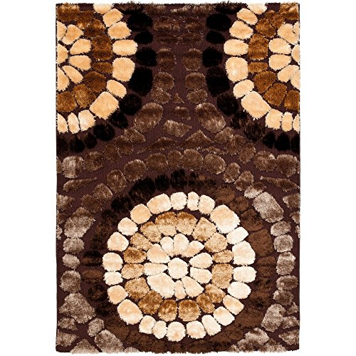 Safavieh Miami Shag Collection SG357-2591 Brown and Multicolored Shag Area Rug, 4 feet by 6 feet (4' x 6')