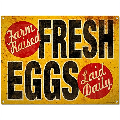 Fresh Eggs Farm Raised Vintage-Style Country Kitchen Sign 16 x 12 (Vintage Chicken Signs compare prices)