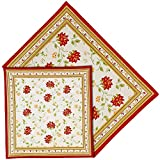 Handmade Floral Placemats and Napkins Set of 6 Indian Cotton White Red