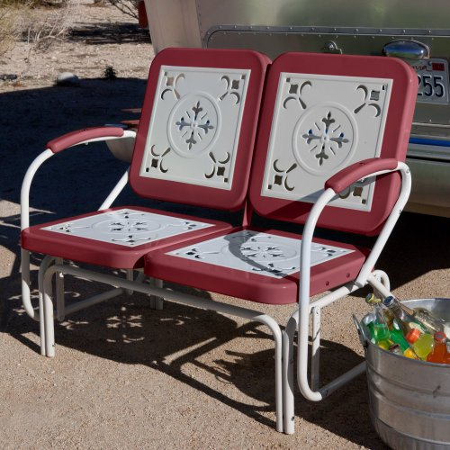 Coral Coast Coral Coast Paradise Cove Retro Metal Outdoor Glider Loveseat, Cherry Red, Metal front-1042477