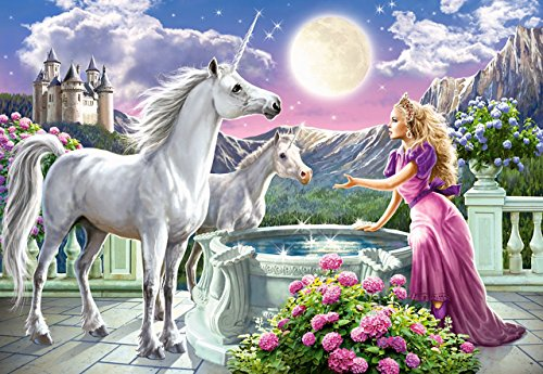 Puzzle 1000 Teile - Prinzessin mit Einhorn - Zeichnung - Gemälde - Landschaft romantisches Motiv - Mädchen Märchenschloß - Einhörner - Märchen Pferd - Berge - Prinzessinnen - Tiere
