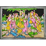 "Dolls Of India ""Gopinis Entertaining Radha Krishna By Their Music And Dance"" Painting On Cloth With Sequin Work..."