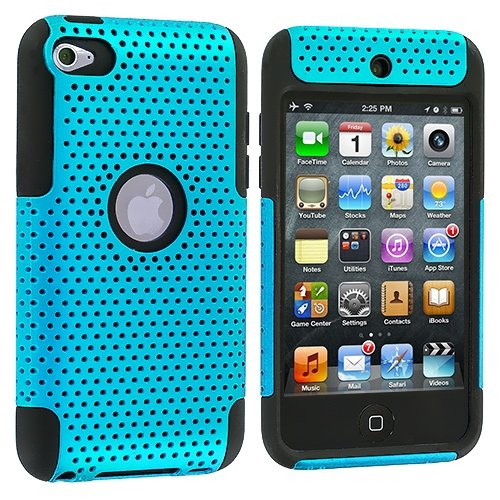 Cell Accessories For Less Black / Baby Blue Mesh Hybrid Mesh Hard/Soft Case Cover For Apple Ipod Touch 4Th Generation / By Thetargetbuys front-712094
