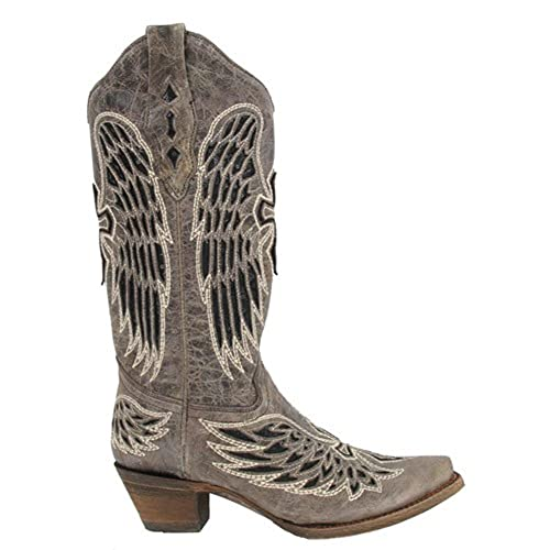 Womens Brown/Black Wing & Cross Sequence Corral Boots