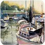 """Caroline's Treasures JMK1246FC Black Sails Sailboats Foam Coaster (Set Of 4), 3.5"""" H X 3.5"""" W, Multicolor"""