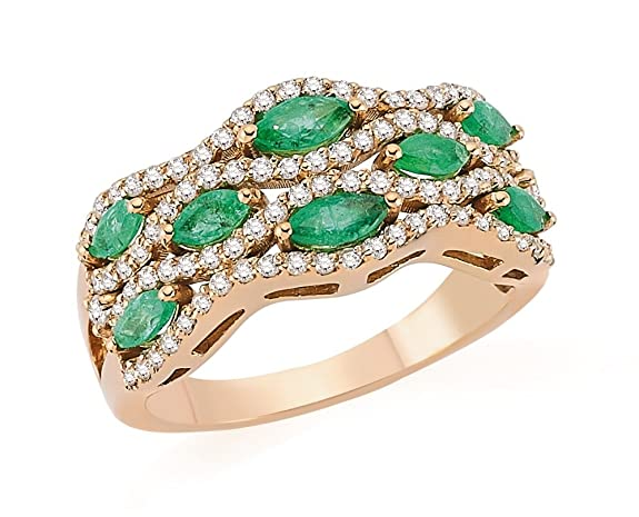 1.33 Carats 18k Solid Rose Gold Emerald and Diamond Engagement Wedding Bridal Promise Ring Band