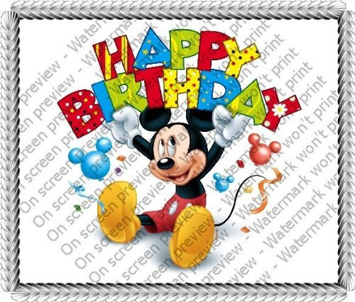 "8"" Round ~ Mickey Mouse Happy Birthday Banner Birthday ~ Edible Image Cake/Cupcake Topper!!!"