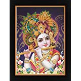 Avercart Lord Krishna / Shree Krishna / Shri Krishna With Morli (Fluit) Poster 12x16 Inch With Frame (30x40 Cm...