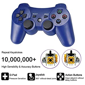 CelebFuny PS3 Controller Wireless Playstation 3 Controller Double Vibration for PS3 with Charging Cable (Blue) (Color: Blue)
