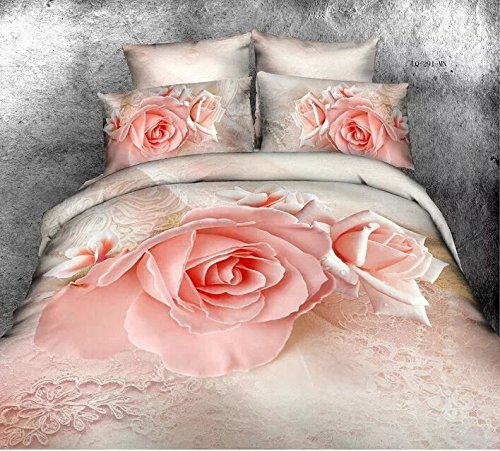 Queen Size 100% Cotton 4-Pieces 3D Beautiful Pink Roses Girls Prints Duvet Cover Set/Bed Linens/Bed Sheet Sets/Bedclothes/Bedding Sets/Bed Sets/Bed Covers/5-Pieces Comforter Sets (5) front-881469