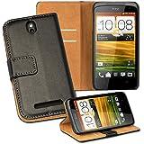 OneFlow PREMIUM - Book-Style Case im Portemonnaie Design mit Stand-Funktion - für HTC ONE SV - SCHWARZ