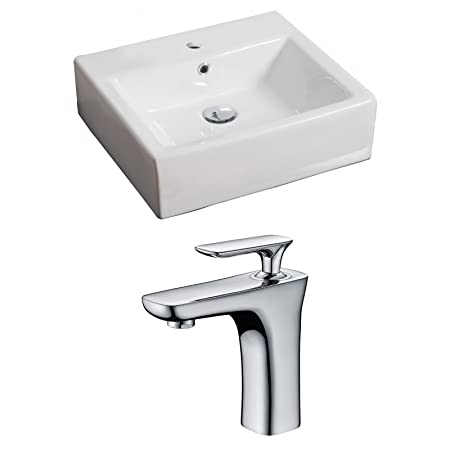 "Jade Bath JB-15108 20"" W x 18"" D Rectangle Vessel Set with Single Hole CUPC Faucet, White"