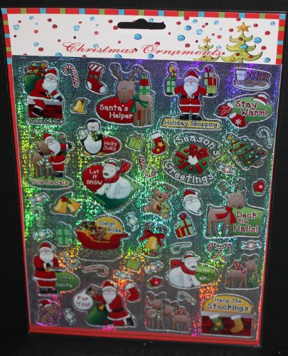 100 Christmas Laser Stickers (2 Sheets of 50 Stickers Ea) - 1