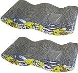 (ヨーテイ)Youtei 【2個セット】猫 爪とぎ 板 爪研ぎ キャット ガリガリ ボード 両面OK ベッド にも M型(波型) 43.5 * 24.5 * 6cm