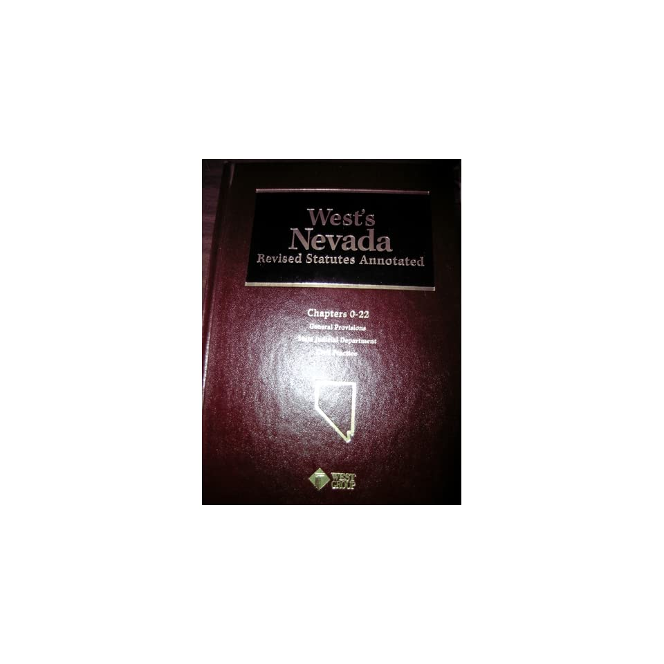 Nevada Revised Statutes >> Wests Nevada Revised Statutes Annotated General On Popscreen