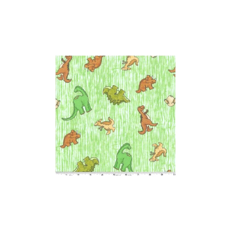 44 Wide Flannel Dinosaurs Green Fabric By The Yard
