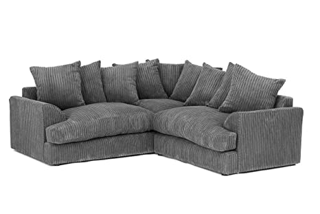 Ferguson Corner Sofa in Cord Chenille Fabric - Grey