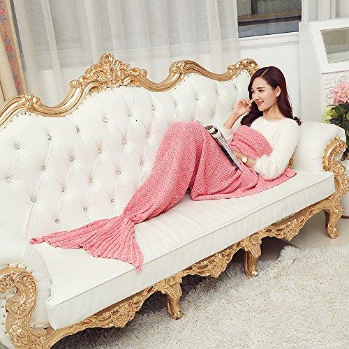 AISHN Kinder/Erwachsene Meerjungfrau Schwanz Handgefertigt Strickmuster Blanket Quilt Decke Stil Sofa Klimaanlage Blanket Kuscheldecken Teen Schlaf Tasche Bett (Erwachsene, pink) thumbnail