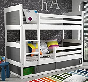 RICO 2 BUNK BED 160x80 white colour with 2 foam mattresses + storage- Free P&P