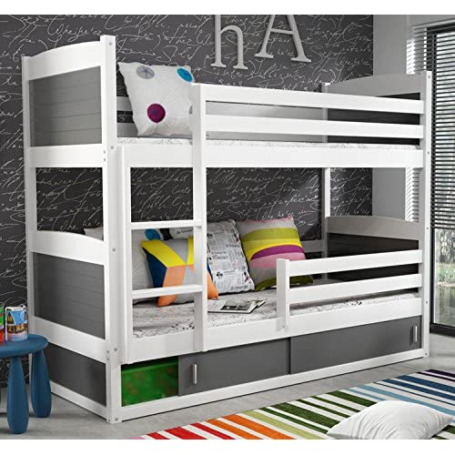 RICO BUNK BED 160x80cm toodler bed white colour with 2 foam mattresses + storage- Free P&P