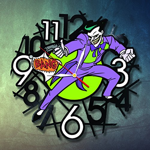 Joker Room Vinyl Record Design Wall Clock - Decorate your home with Famous Rock Band Style Art - Best gift for man, woman, boyfriend and girlfriend - Win a prize for feedback