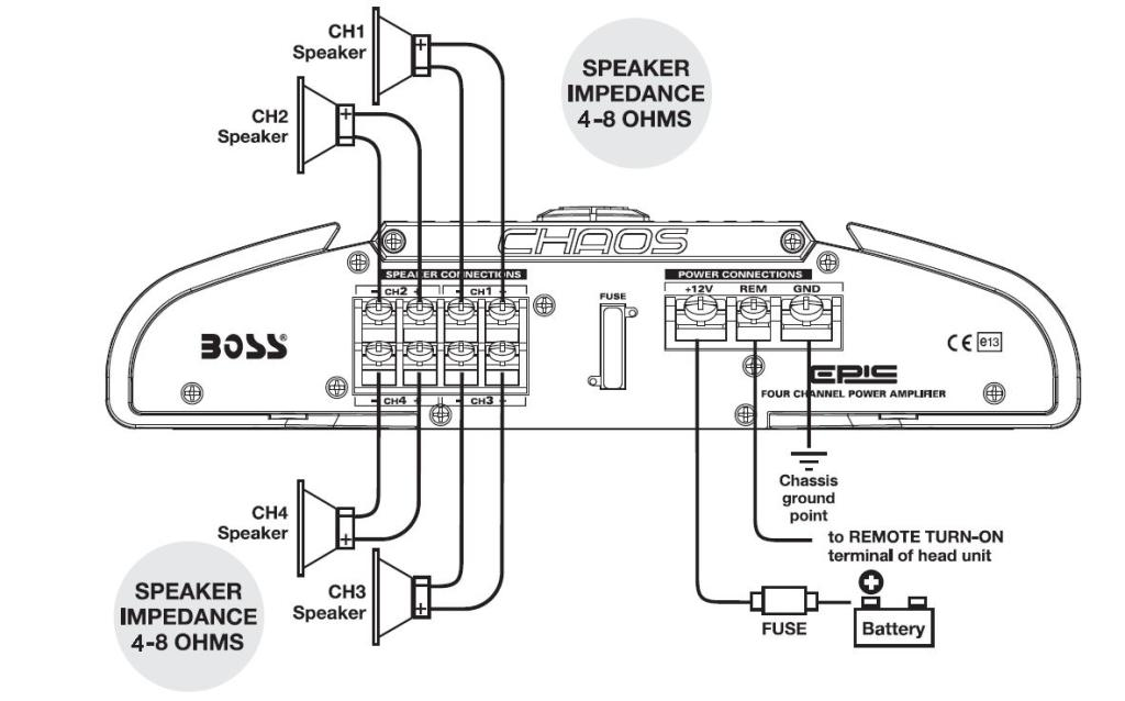 amplifier wiring diagram amazon.com : boss audio mr404 chaos epic 400-watts full ...