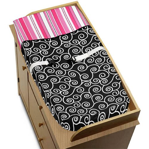 Pink And Black Madison Girls Baby Changing Pad Cover By Sweet Jojo Designs front-226154