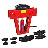 XtremepowerUS 12 Ton Heavy Duty Hydraulic Tube Bender 180 Degree Tubing Metal Steel Iron Exhaust Pipe Bending with 6 Dies (Color: Red)