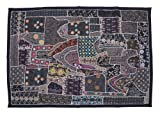 Indian Vintage Home Decor Wall Hangings Old Dresses Patchwork, Embroidery & Sequins Work Fantastic Tapestry, 102 X 152 Cm