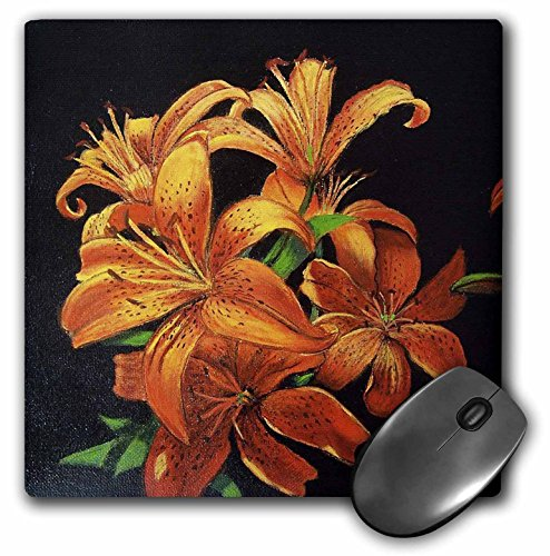 Gladys Bacon Flower - Bright Orange speckled Tiger Lilies floating on black. - MousePad (mp_61499_1)