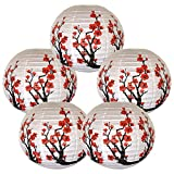 "Just Artifacts Set of 5 Red Sakura (Cherry) Flowers White Color Chinese/Japanese Paper Lantern/Lamp 16"" Diameter - Just Artifacts Brand"