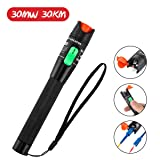 Visual Fault Locator, GOCHANGE 30mW 30KM Red Light Fiber Optic Cable Tester Meter, Cable Test Equipment Suitable for 2.5 mm connector, for CATV Telecommunications Engineering Maintenance (Color: Black)