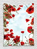 """Poppies and the Sky Tapestry Wall Hanging Valentines Day Wife 40""""wx60""""l - Living Room / Bedroom / Dorm Decor - One of a Kind - Machine Washable - Shiny Silky Saten"""