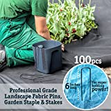 100 6-Inch Garden Landscape Staples Stakes Pins - USA Strong Pro Quality Built to Last. Weed Barrier Fabric, Ground Cover, Soaker Hose, Lawn Drippers, Irrigation Tubing, Wireless Invisible Dog Fence