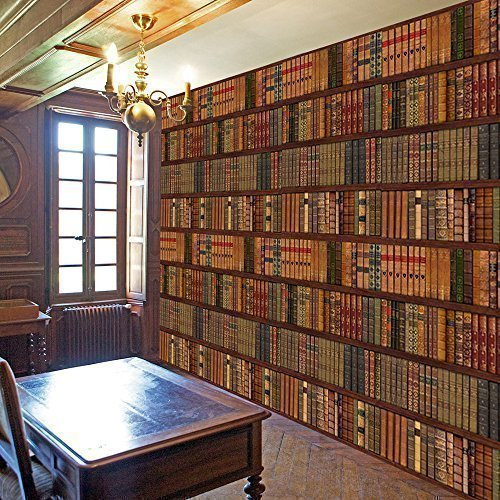 Rainbow-Library-klassische-Bcher-Regal-Bcherregal-Old-Wall-Art-Decor-Fototapete-R222