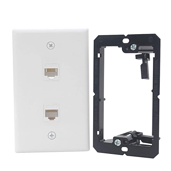 KCC Industries 2-Port Cat6 Ethernet Cable Wall Plate | Female-Female with Mounting Bracket +UL/CSA Listed Safe+ (Tamaño: 2 Port)