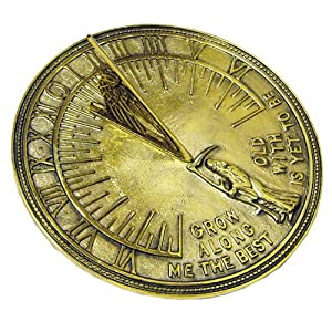 Rome 2330 Father Time Sundial, Solid Polished Brass, 11.5-Inch Diameter
