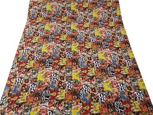multicolor Gudri algodón puro estilo kantha tamaño queen edredón reversible colcha 104