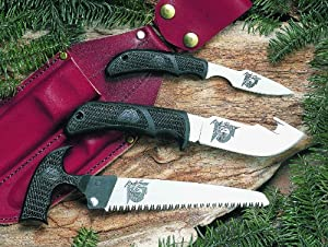 Outdoor Edge Kodi-Pak KP-1 Caper Gut-Hook Skinner Saw Combo with Leather Belt Sheath by Outdoor Edge