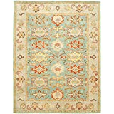 Safavieh Heritage Collection HG734A Handmade Light Blue and Ivory Wool Area Rug, 6 feet by 9 feet (6' x 9')