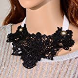 Yazilind Jewelry Black Lace Collar Necklace Gothic Lolita Noble Sexy Christmas Gift Wedding Party for Women